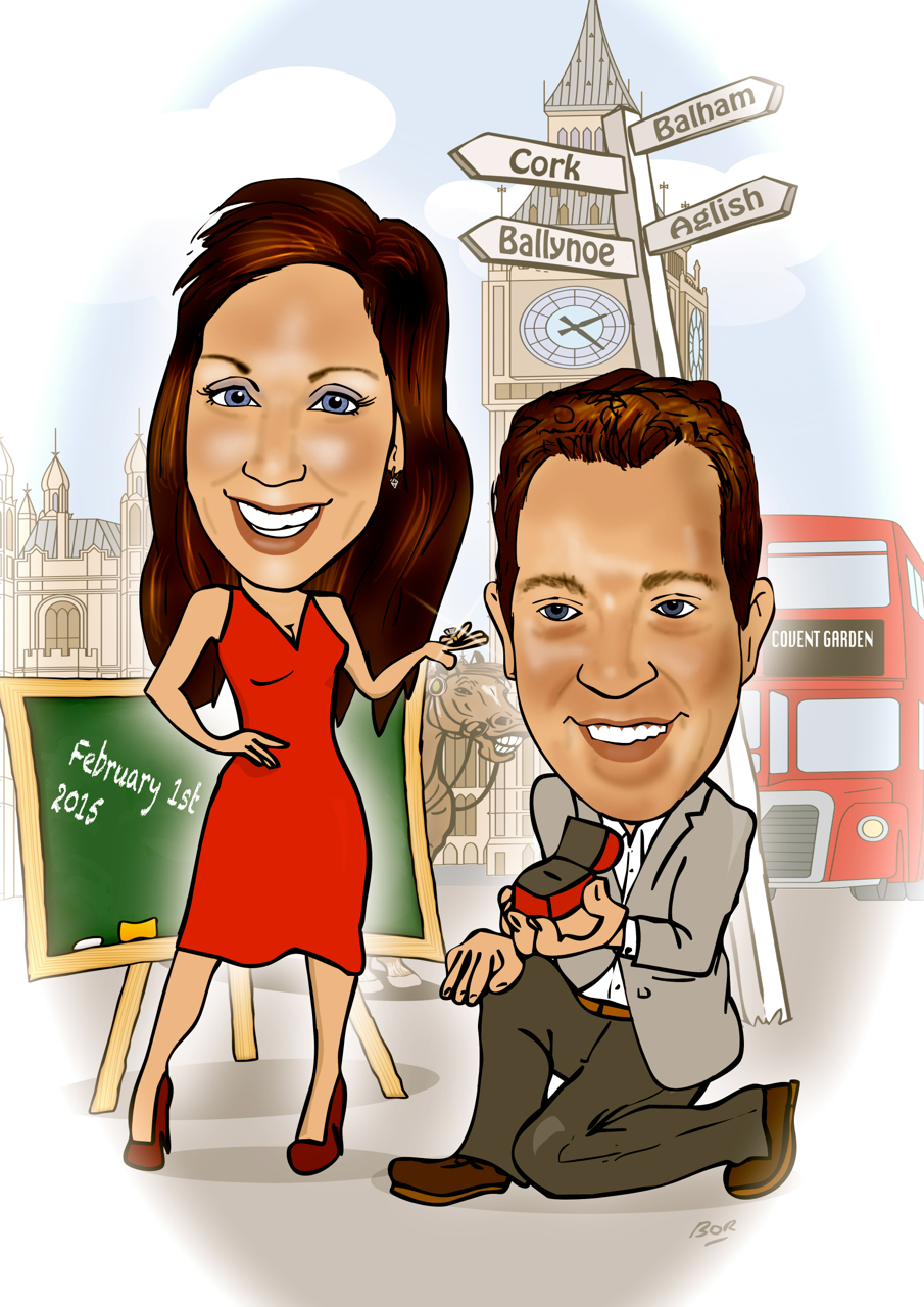 engagement present caricature