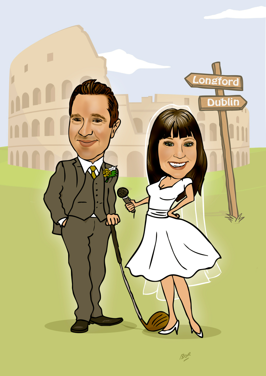 Wedding Caricature For Invite Featuring The Colosseum Caricature