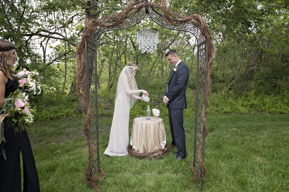 No sand here -A wooded backdrop for the I Do's
