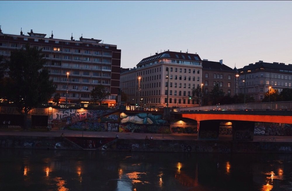 Danube Canal at night.