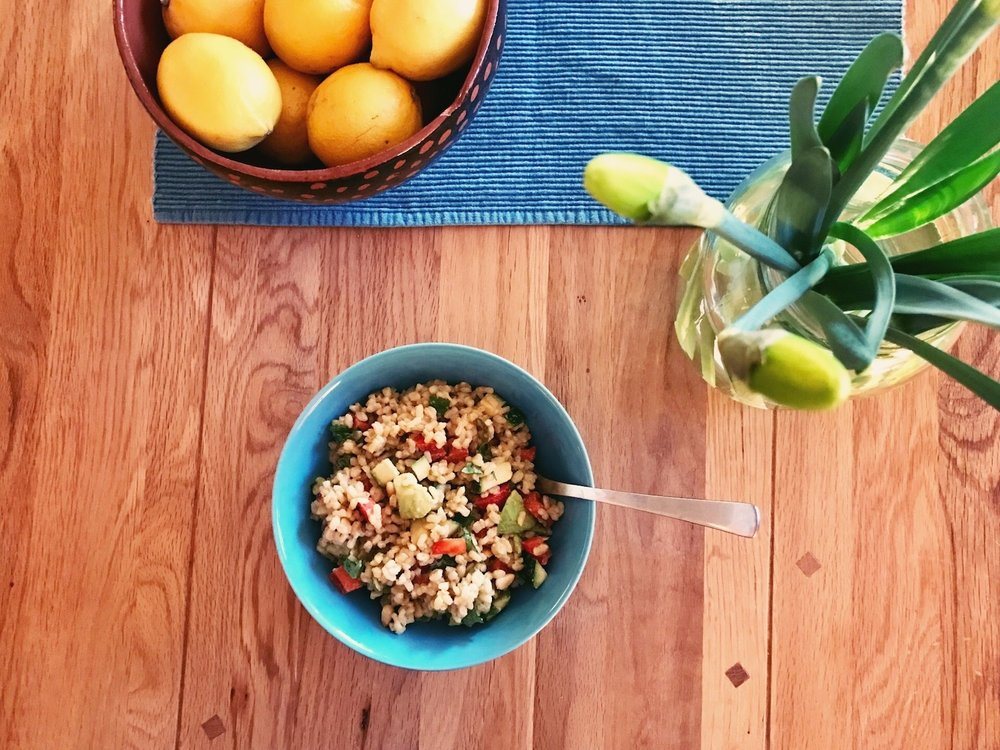 brown rice bowl with tahini dressing   the reluctant cook