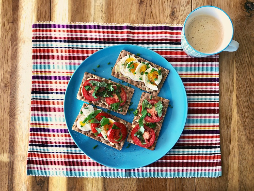 Eggs & Tomatoes on Ryvita crisp bread・The Reluctant Cook