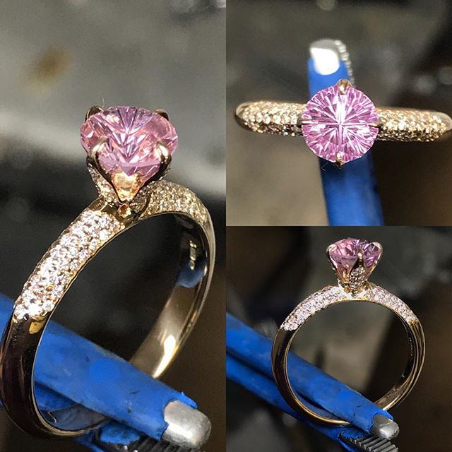 This was a real fun piece to make, the tulip style setting really emphasises this stunning @johndyergems cut pink sapphire. Combine that with lots of sparkle from the 130 or so Diamonds set around the rose gold mount this ring really pops!  #engagementring #jewellery #design #benchmade #bespoke #ring #pink #sapphire #rosegold #diamond #luxury #finejewellery #pinkring
