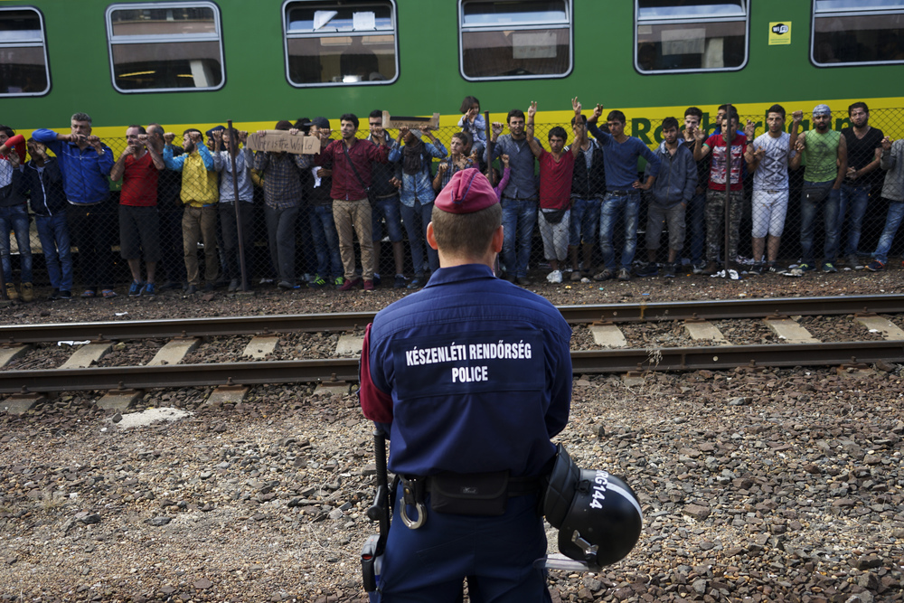 Syrian refugees strike at the platform of Budapest Keleti railway station, 4 September 2015. Photo: Mstyslav Chernov, uploaded to Wikipedia 4 September 2015.