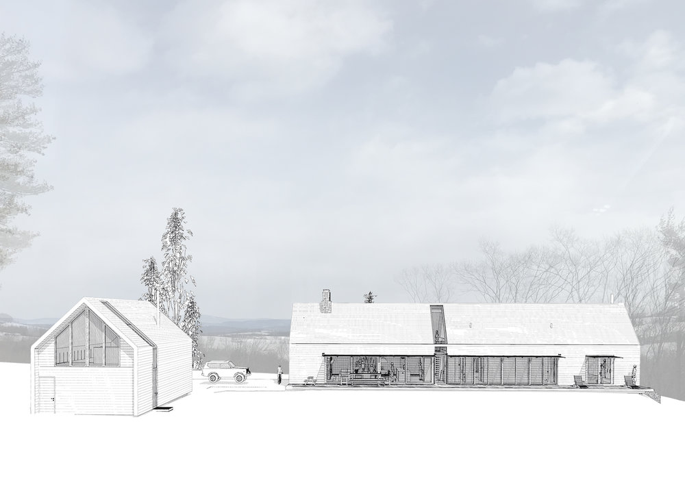 Main House and Carriagehouse Hidden Line Renderings