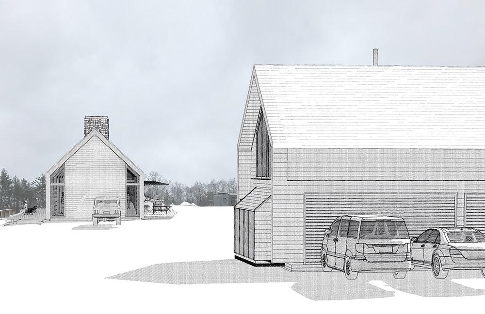 Carriage House & Main House Hidden Line Renderings