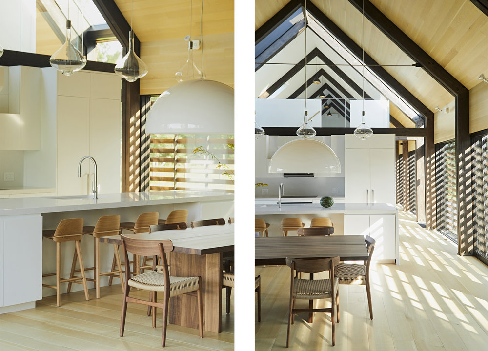 The Great Room merges the kitchen, breakfast bar, dining, living, and lounge into one dramatic, barn-like, light-filled, double height cathedral ceilinged space.
