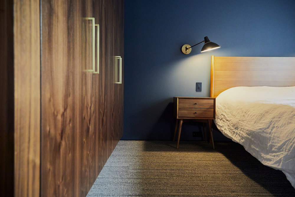 We went with crowd favorite 'Hague Blue' for the downstairs guest bedroom feature wall