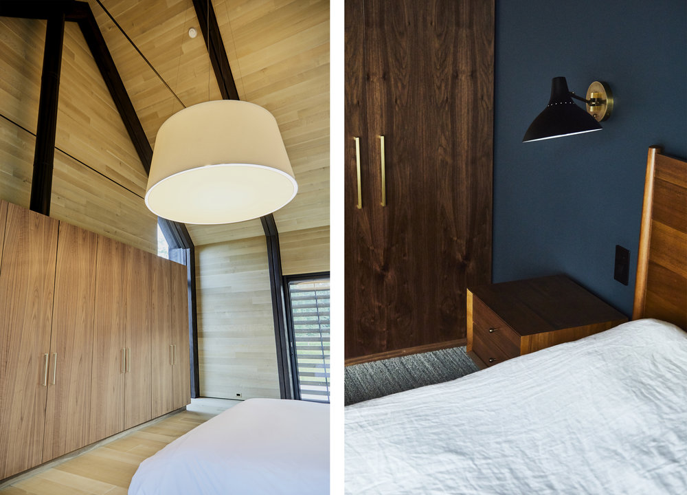 careful and considerate light selection heighten bedroom feature walls and cathedral ceilings