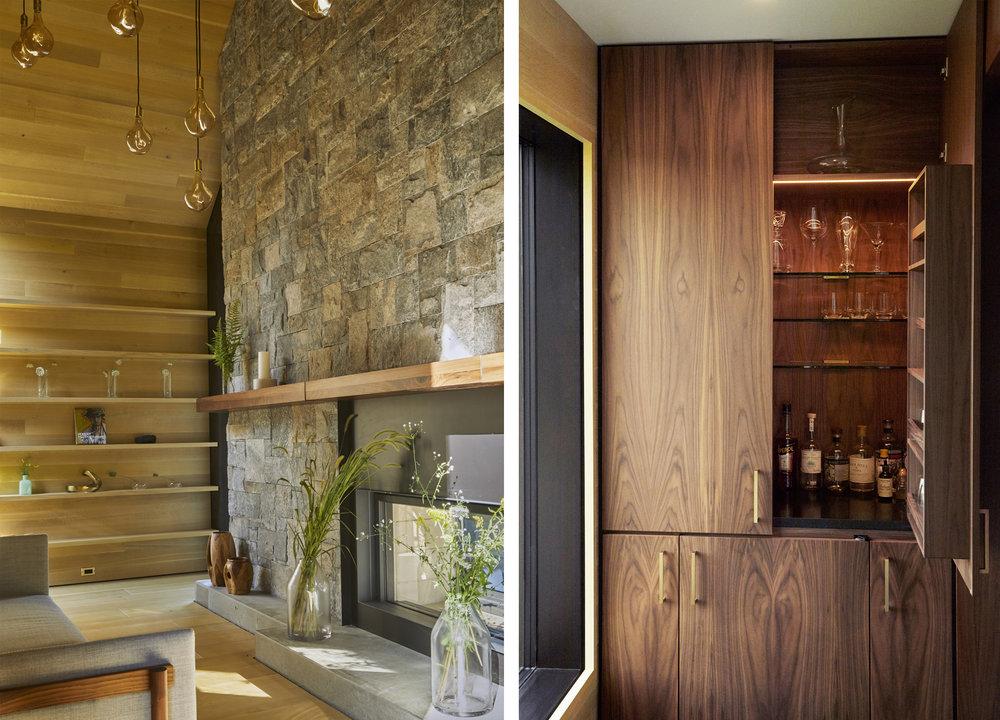 A hidden den and a hidden bar provide for late-night entertainment