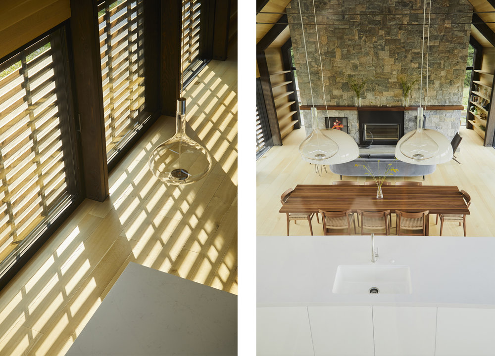 Operable sunshading and a local-stone chimney hearth are features of the living areas.