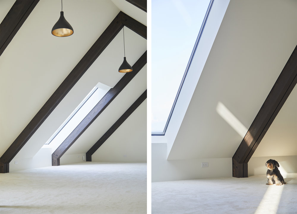 the simple, bright upstairs loft was deliberately left empty for future use as play-space, office, studio or kids hangout