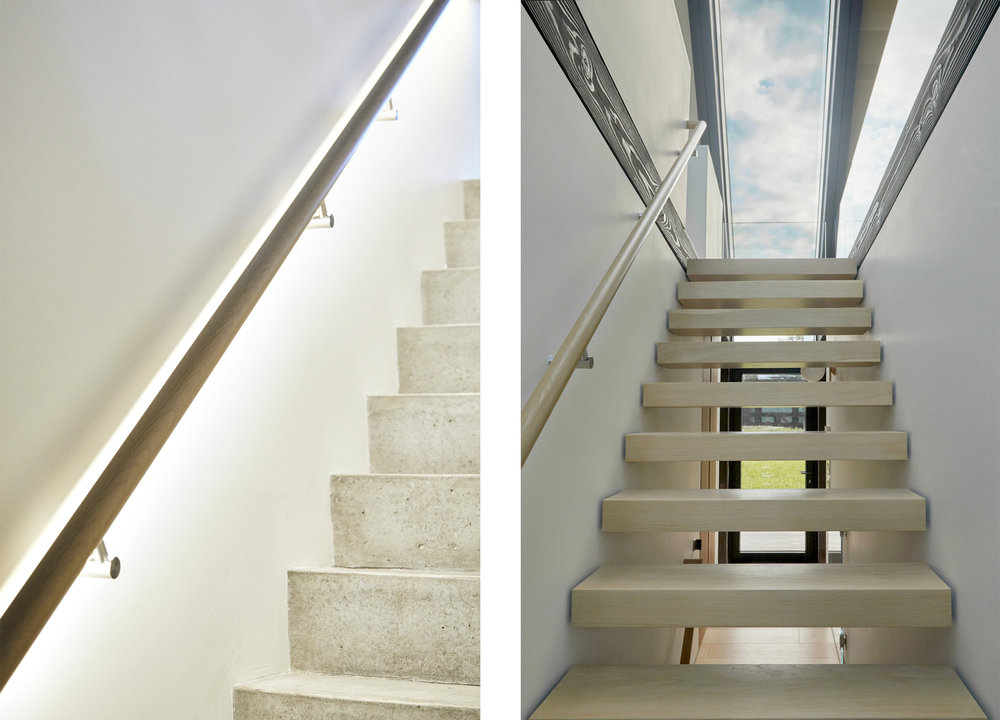 The stairway divides the house into two, the skylight above brings light through the floating treads down into the basement