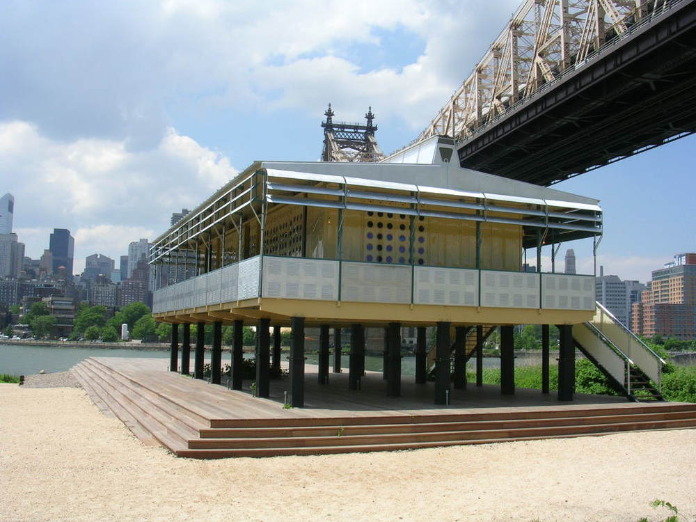 "Jean Prouve's ""Maison Tropicale"" circa 1951 exhibited on the banks of the East River in 2007, inspiration for the article ""Moving Modern: Modern Architecture as Moveable Heritage,""by Mary Kay Judy in NTHP Forum Journal Fall 2011."