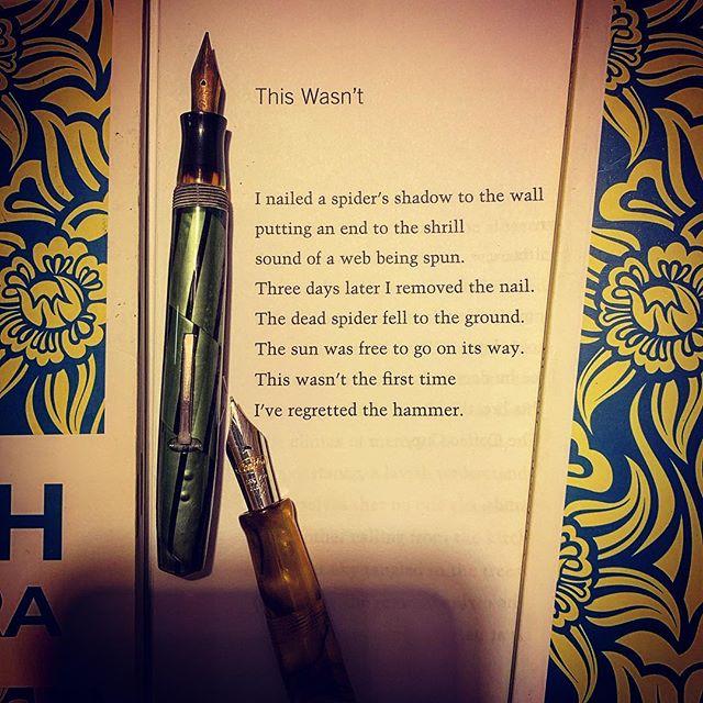 A poem from my book, Death Obscura, Sarabande Books. #longlivepoetry #thewriterlife #warrenwilsonmfa #spokenwordpoetry #sarabandebooks #iowawritersworkshop #spiders #fountainpen #literature #literature #awp2019 #buythisbook #instapoetry #instapoem @esavandusen #poemoftheday #poetrycommunity #shortpoetry #shortpoem #surrealistpoetry #yannisritsos #poem #charlessimic #poetryisart #creativewriting #journaling #writesomething #poetsofinstagram