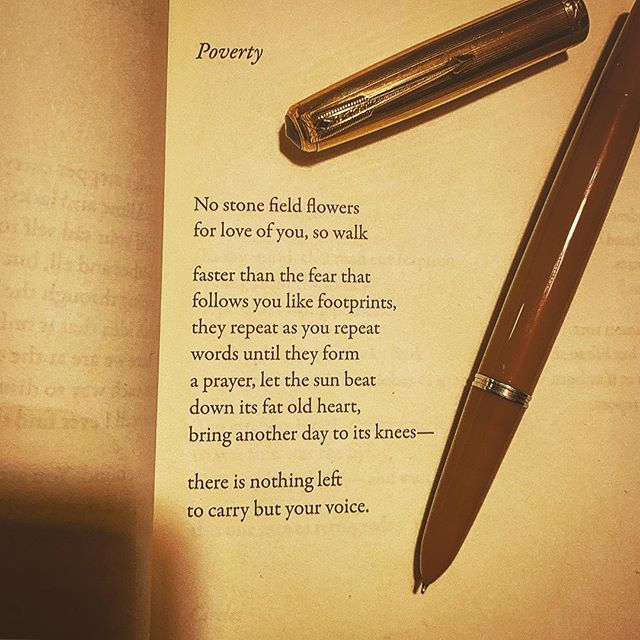 Something beautiful by Heidi Steidmayer from her book, Fowling Piece. #heidysteidlmayer #warrenwilsonmfa #poetryisart #laurakasischke #ritsospoetry #warrenwilsonmfa #parker51 #cigaraficionado #poetryischurch #longlivepoetry @beckyfink #shortpoem #instapoetry #poverty #poemoftheday @esavandusen #literature #thewritinglife #yannisritsos @thisjenthatfunk #poetrycommunity #poet #lovetoread #journaling #lyrical #awp2019
