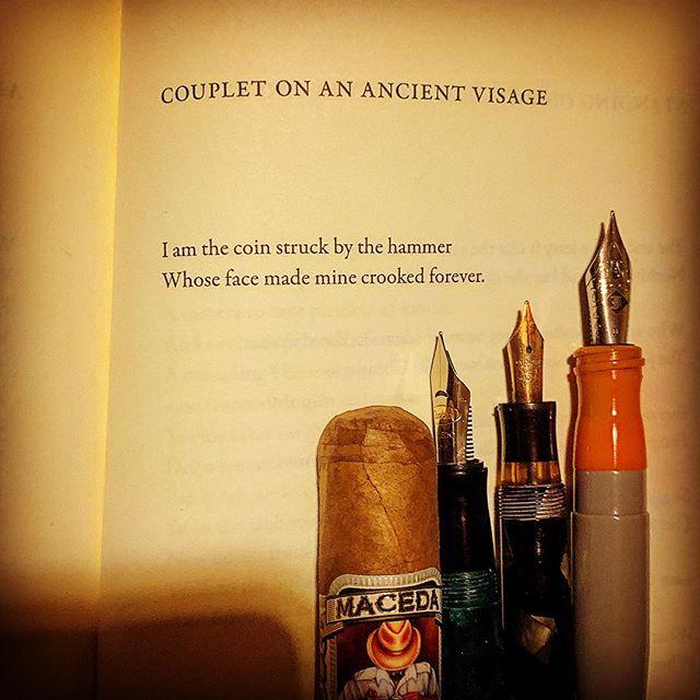 A poem by Stuart Dischell from his book, Children with Enemies. #poetryisnotdead #journaling #notebook #duende #poetryischurch #warrenwilsonmfa #shortpoems #cigaraficionado #thewritinglife @stuartdischell #stuartdischell #poetsofinstagram #lovetoread #awp2019 #instapoetry #instapoet #poem #creativewriting #ritsospoetry #literature #spokenwordpoetry #poem #poet #poetryisart #writing #coins #ilovepoetry #modernpoetry @esavandusen