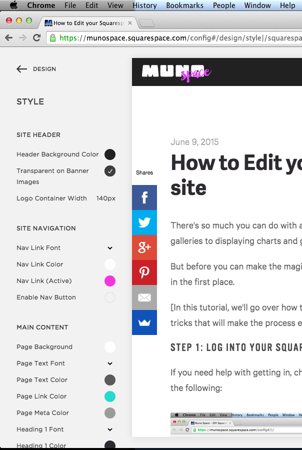 The Squarespace Style Editor