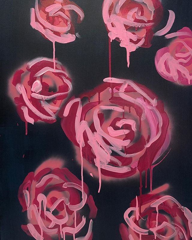 "I love the quick line gestures of these expression flowers.  I love how the paint drips where it wants.  These roses on black are available 24x36"" #art #homedecor #interiordesign #onestepatatime #friyay #treatyoself #painting #popart #fashionart #roses #expression #megancoonellyart"