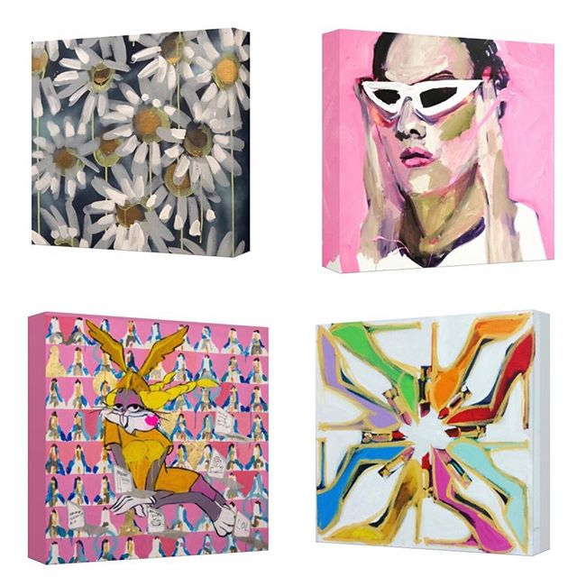 "NEW!  I have chosen four of my favorite paintings to offer this year as hand embellished canvas prints in celebration of my birthday.  I have never offered prints before!  So true to form- these are not ordinary prints!  Each 12x12"" canvas is hand embellished in paint, signed, sealed and ready to hang. Link in bio #art #monday #mondaymotivation #new #artcollector #homedecor #interiordesign #inspo #omgshoes #fashion #fashionart #love #colorful #sweet #pink #pop #popart #lipstick #daisy #flowers #hailmary #bugsbunny #spacejam #sold #create_mag #megancoonellyart"