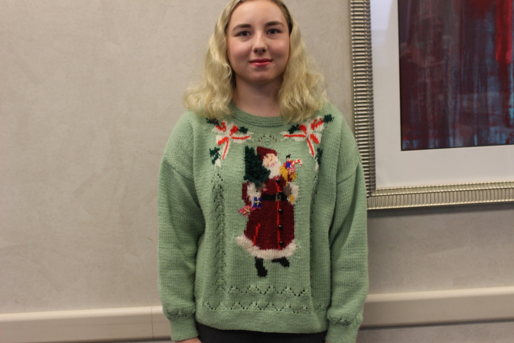 One of the many festive sweaters
