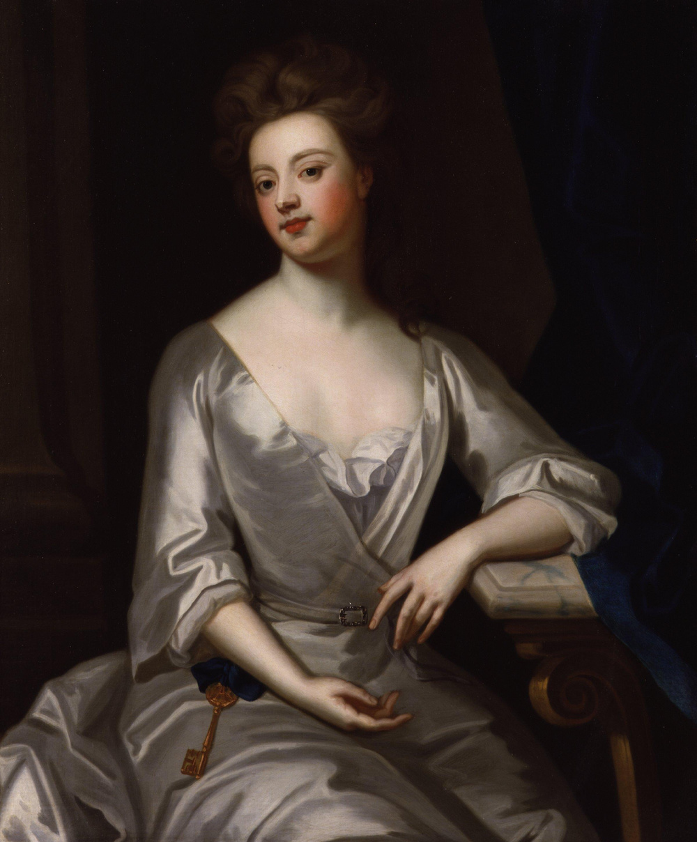 Sarah Jennings, in classic late 1600s-early 1700s fashion, with her signature key, which symbolized her status at court and being able to access all rooms.