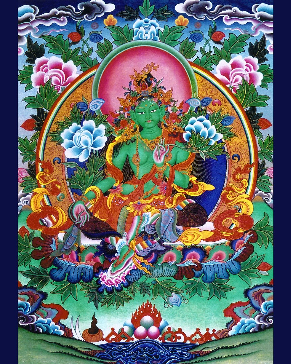 "Tara, whose name means ""star"" or ""she who ferries across,"" is a Bodhisattva of compassion who manifests in female form. In Tibetan, Tara is known as ""Dölma"" (Sgrol-ma), or ""She Who Saves."" In particular she represents compassion in action, since she's in the process of stepping from her lotus throne in order to help sentient beings."