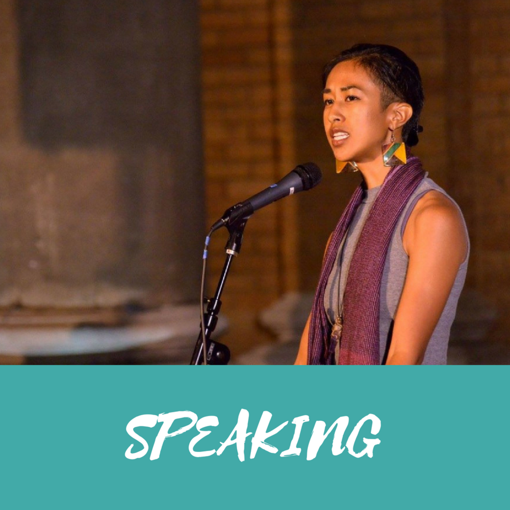 Professional spoken word artist and inspirational speaker on topics of entrepreneurship, community building, gender equity, beauty standards, wellness and healing, culture and identity, and more. (Paired well with teaching workshops.)  Book me to motivate your crowd!