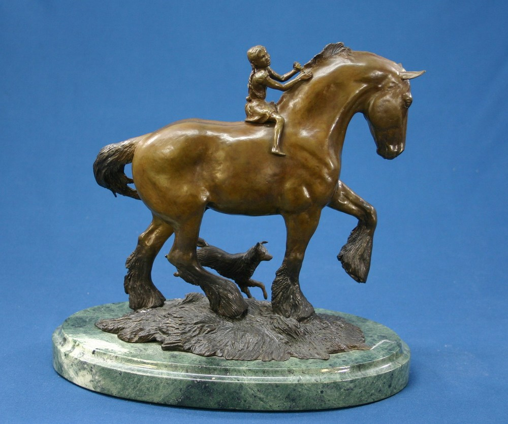 bronze draft horse with girl and dog (2).JPG
