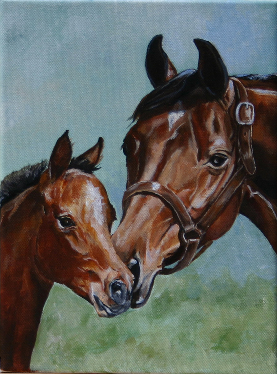 """Parsley"" bay mare and foal head study"