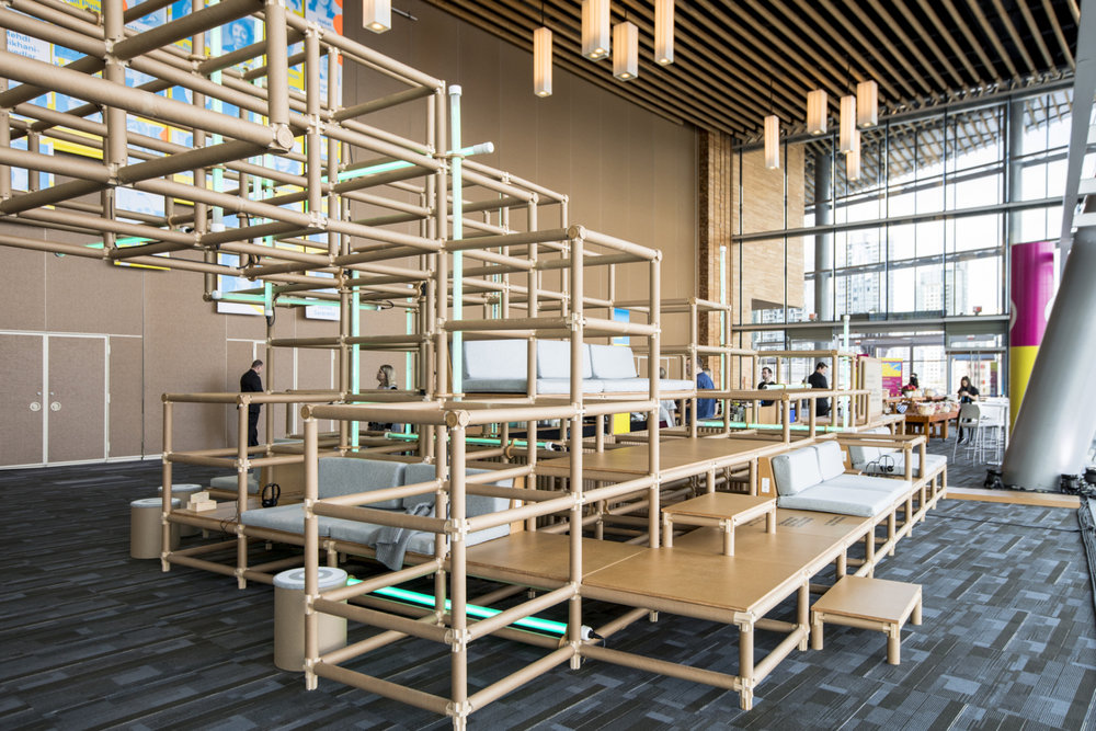 Target builds a bridge to create a cozy social space at TED2017, April 24-28, 2017, Vancouver, BC, Canada. Photo: Marla Aufmuth / TED