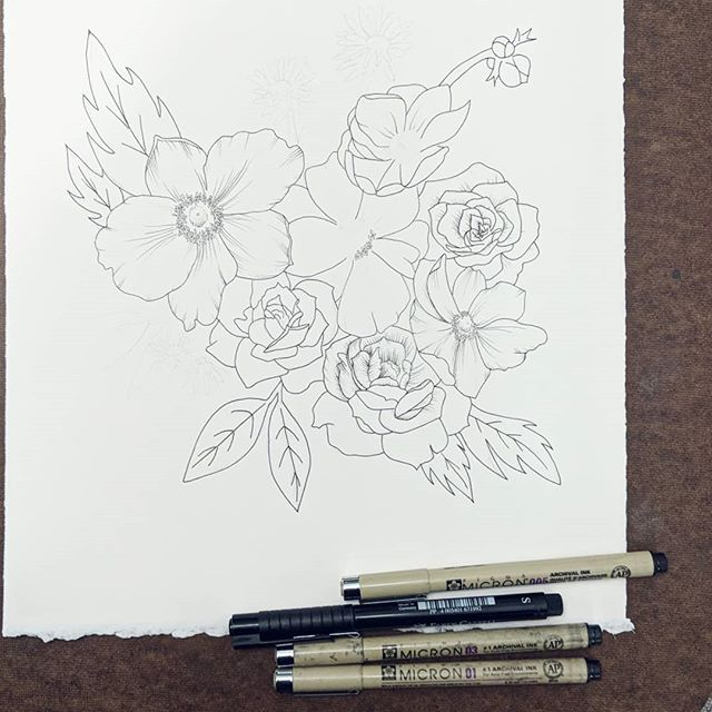 Got a bit further on this one. I feel like floral drawings look like 5 year old drawings until you add all the shading and then they look good. Today my daughter turns two, so I didn't have a whole lot of time to draw since we're celebrating her birthday.  ______ @arches.art paper  @micronart & @fabercastellusa pens _____ #rebeccashores #floraldrawing #floralsyourway  #wipart #rebeccashoresmua #Smallartist #supportlocalar #seattleart #pnwartist #seattleartist #simplethingsmadebeautiful #BOTANICALART  #makearteveryday #artistsofinstagram #emergingartist #mybeautifulmess #seattle  #etsyartist  #floraldrawing  #onmydesk