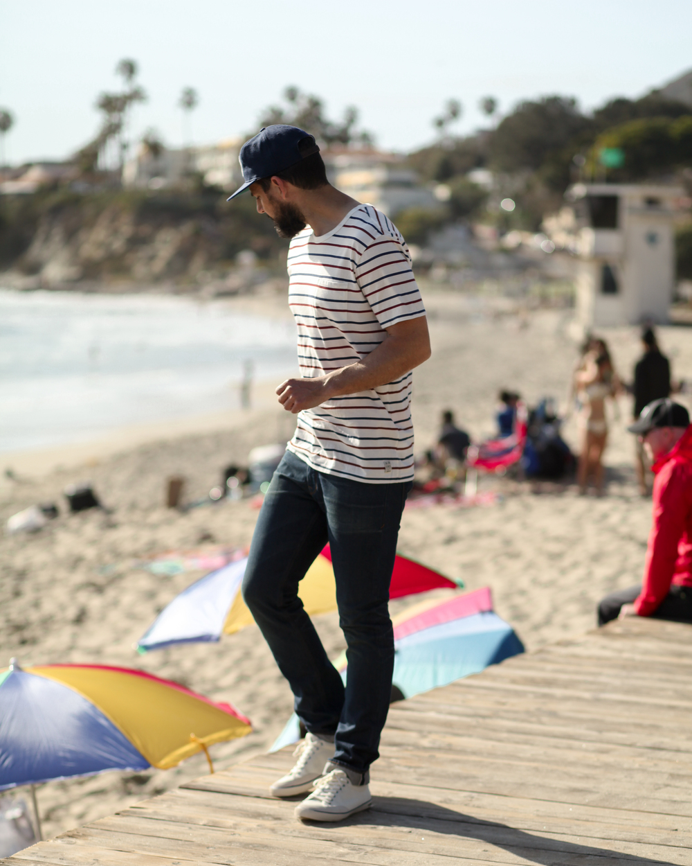 Ebbets Laguna Beach Ball Cap | Almond Westport Stripe Tee | Freenote Cloth 6 Month Wash Selvedge Denim | SeaVees Westwood Sneaker