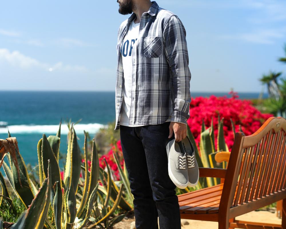 3Sixteen Flannel Work Shirt | North Shop Tee | SeaVees Legend Sneaker | Imogene + Willie Barton Denim