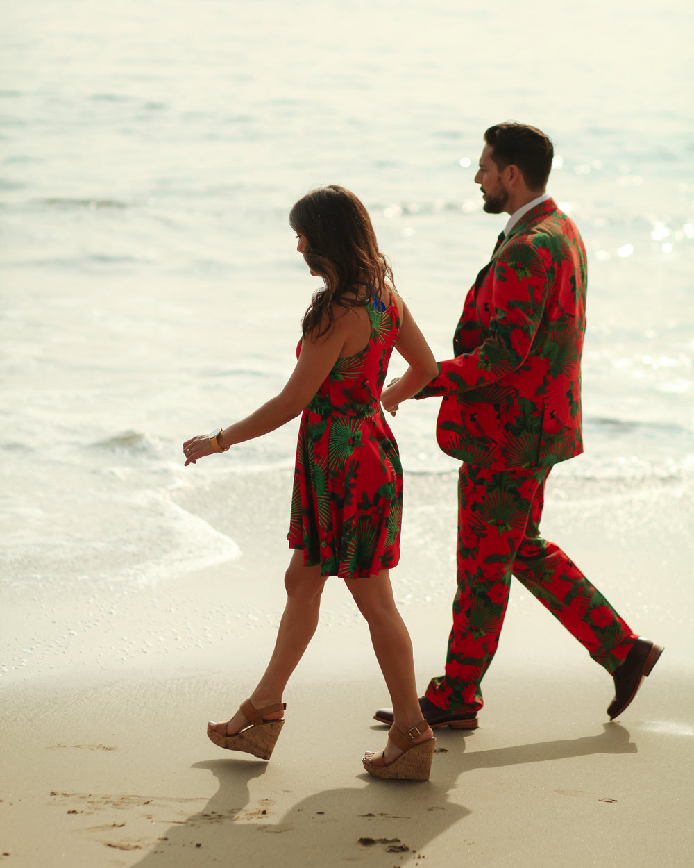 Christmas outfits, beach stroll, ugly Christmas sweater, party, ocean, couple goals