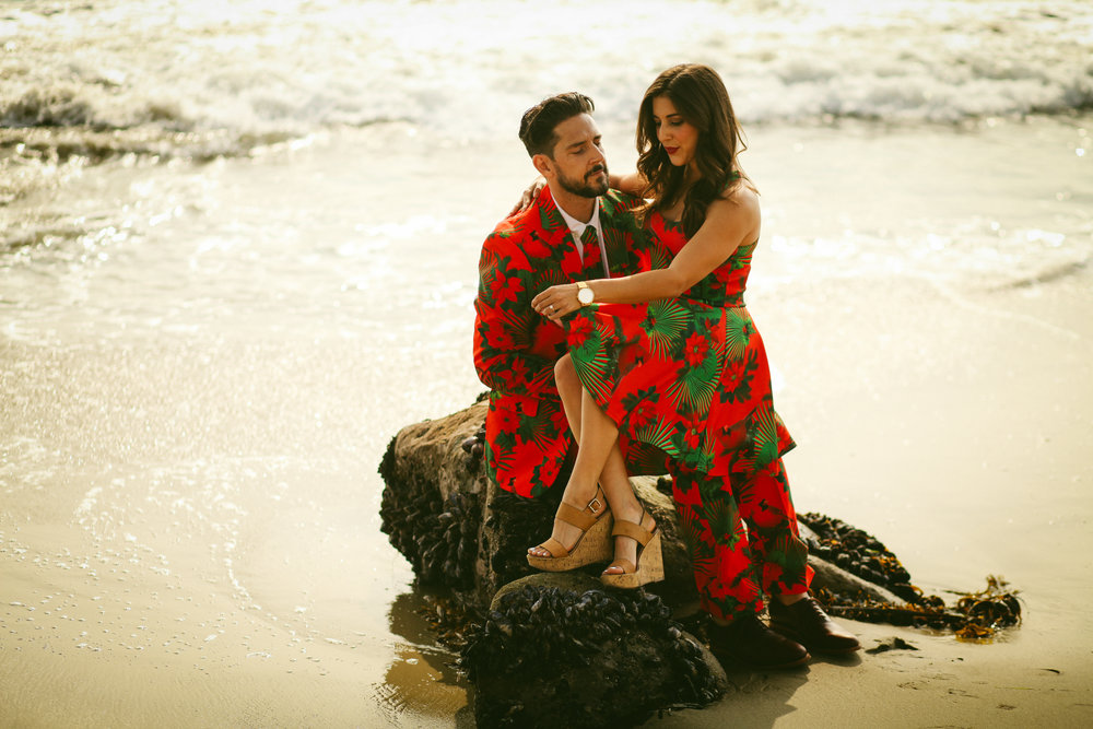 Christmas, couples, love, engaged, beach, photo shoot, Outlined Cloth, Christmas suits