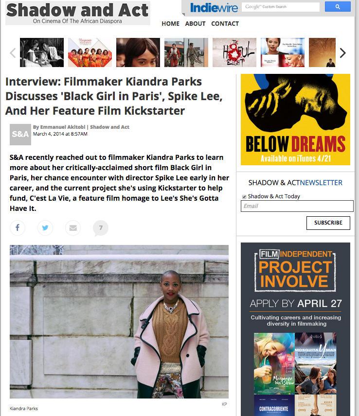 "Indiewire: ""Filmmaker Kiandra Parks Discusses 'Black Girl in Paris'"""