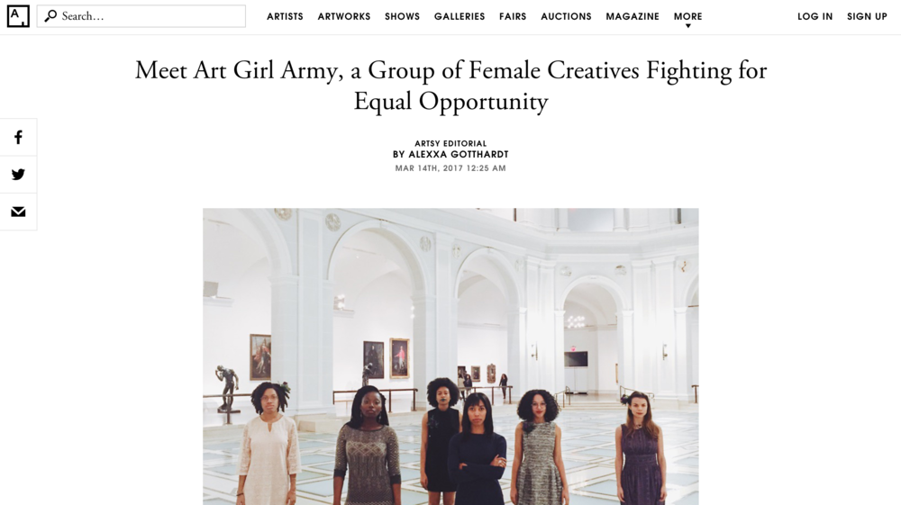 Artsy: Meet Art Girl Army, a Group of Female Creatives Fighting for Equal Opportunity - March 2017