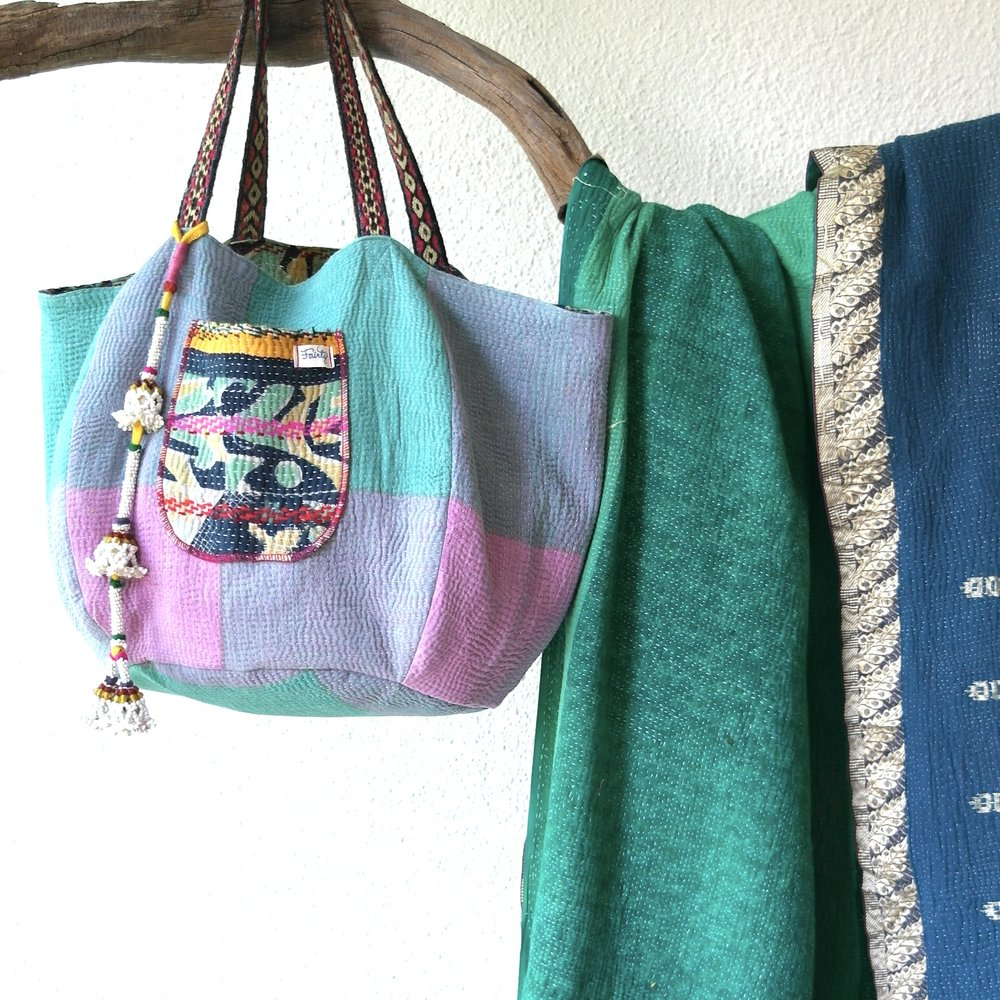 reversible kantha bag and kantha quilt