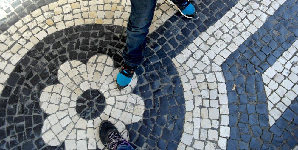 Cobbled sidewalk in Lisbon