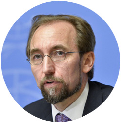 Prince Zeid Ra'ad Al Hussein  is the former UN human rights chief; recognized world-wide as a leading and outspoken defender and promoter of universal human rights – awarded the Stockholm prize for human rights in 2015. With a professional background as a practitioner – a former senior diplomat representing his country Jordan – his knowledge is steeped in the global security environment, stemming from over twenty years of direct exposure to many of the world's most turbulent crises and serious security threats. He served as president of the UN Security Council (in January 2014) and was elected the first president of the governing body of the International Criminal Court (ICC) in 2002 -- guiding the court's growth in its first three years (2002-2005).   Full bio >>