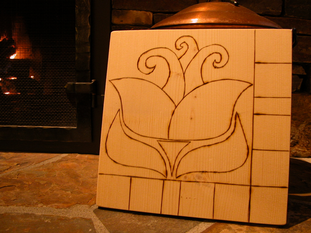 Kristin's wood burned block
