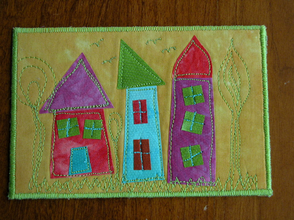 Houses Fabric Postcard for SOQS
