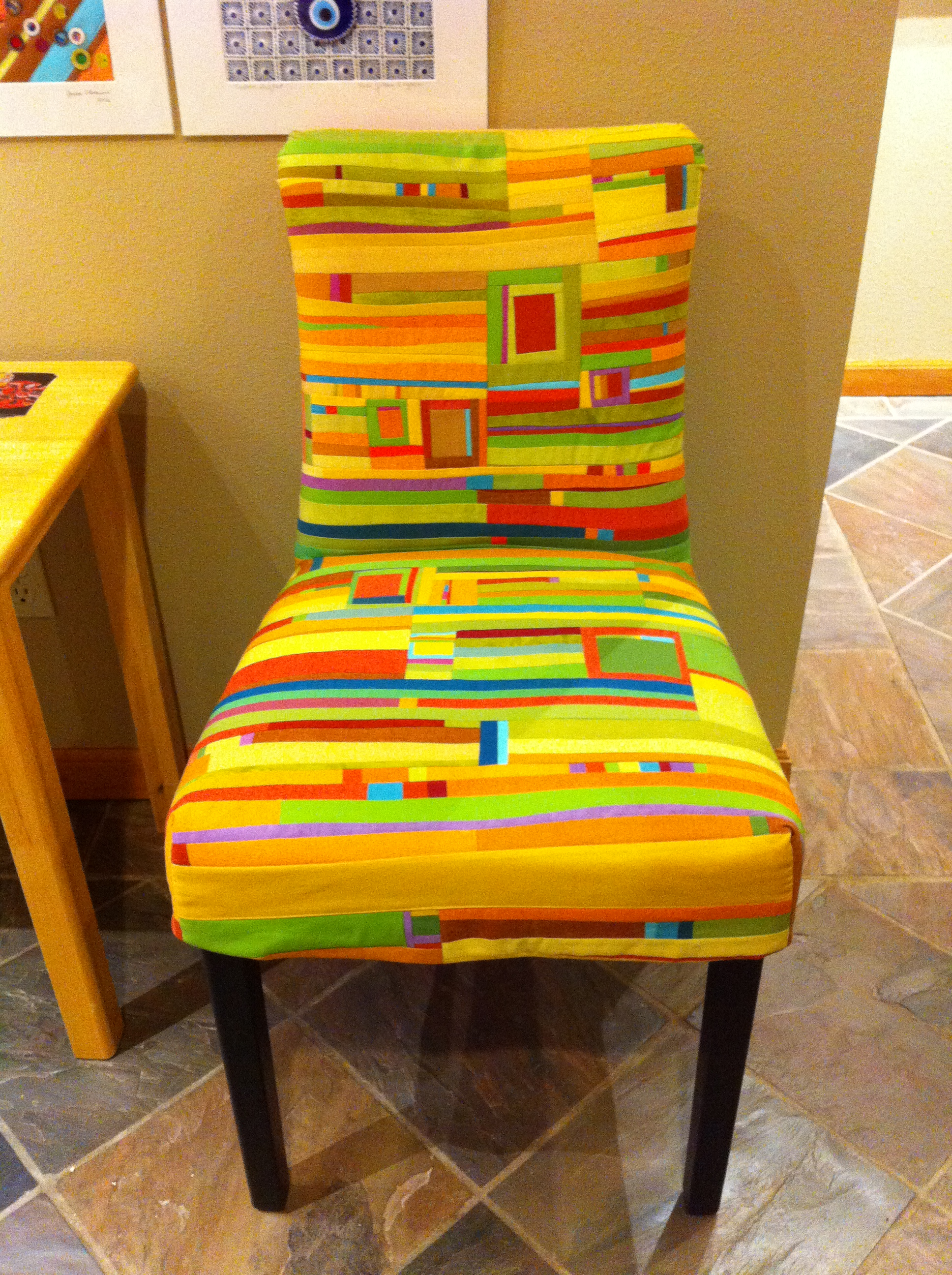 Intuitively pieced chair cover by Jean Wells