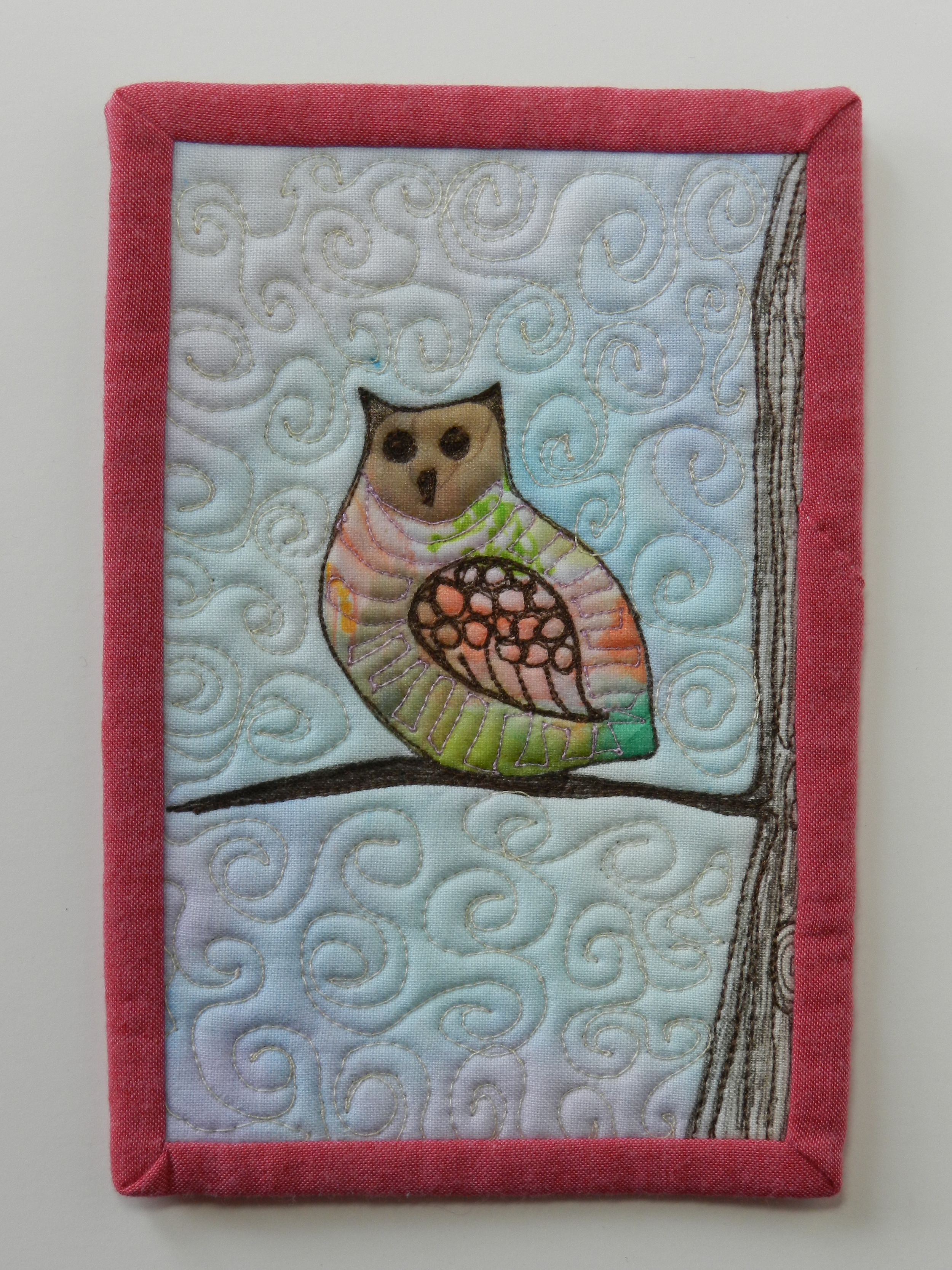Watercolor transfer owl 1 on fabric postcard (2)
