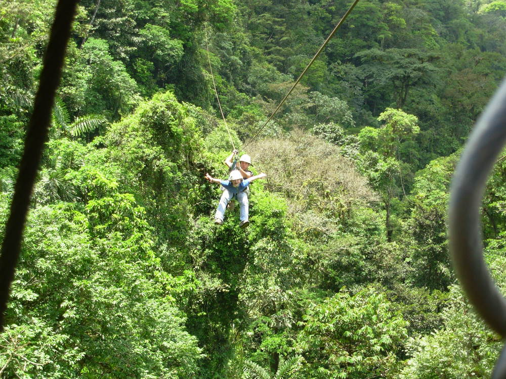 Chloe flying through the rainforest on a zipline.  What a blast!