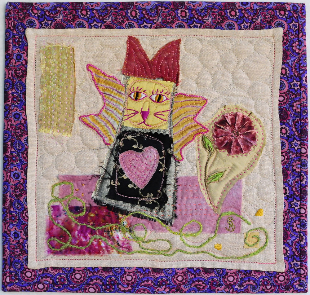 "Pink Angel Kitty, 12"" x 12"". $50"