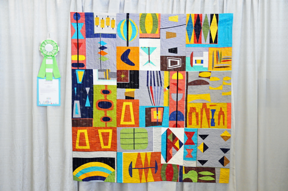 Mod Mood by Debbie Jeske, 1st Place Group or Bee Quilts