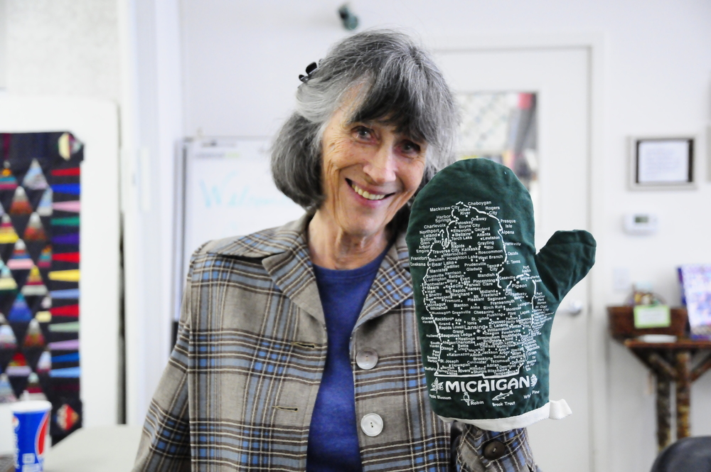 Gwen and her Michigan mitt!