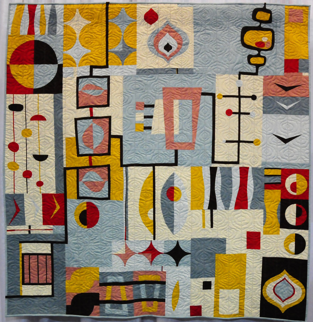 Organic Mid-Century Mod by Laura Bennett ( @drlbennett ), Third Place Group or Bee Quilts